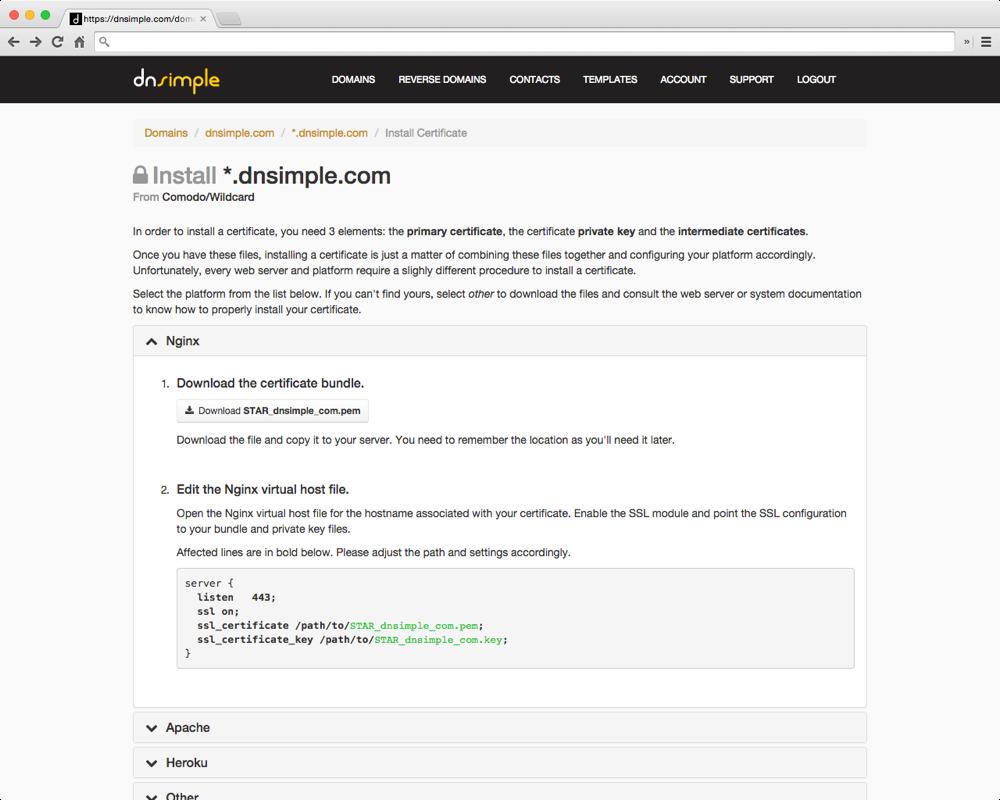 Ssl Certificate Installation Wizard Dnsimple Blog