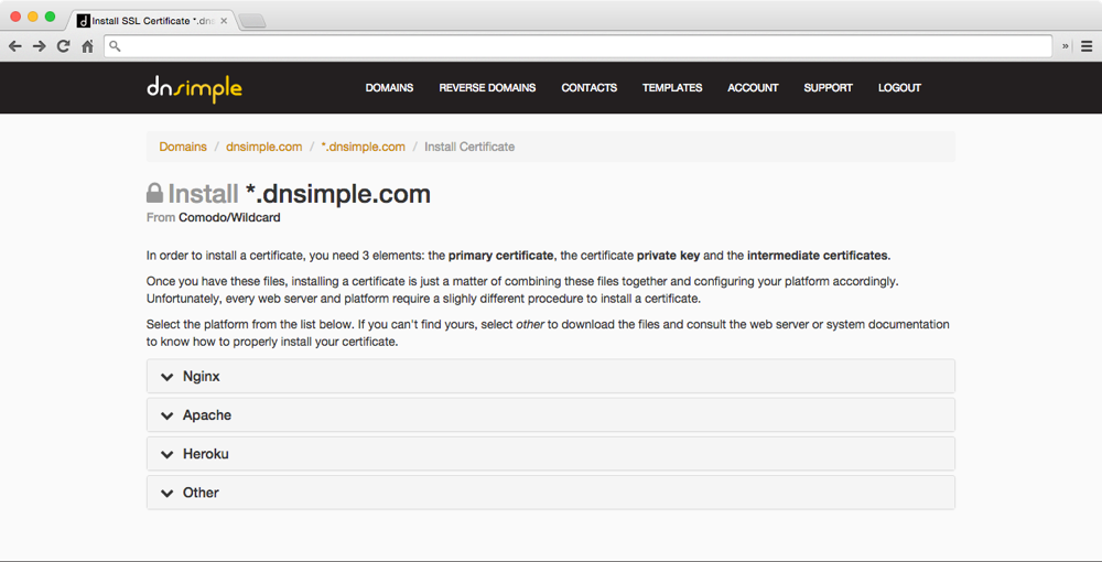 Ssl Certificate Installation Wizard Dnsimple Blog