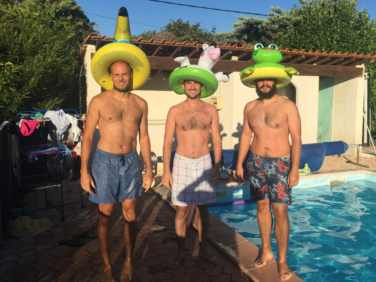 Sebastian, Simone and Javier ready for the swimming pool