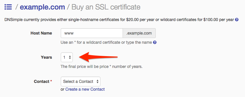 Selecting the numer of years for an SSL certificate