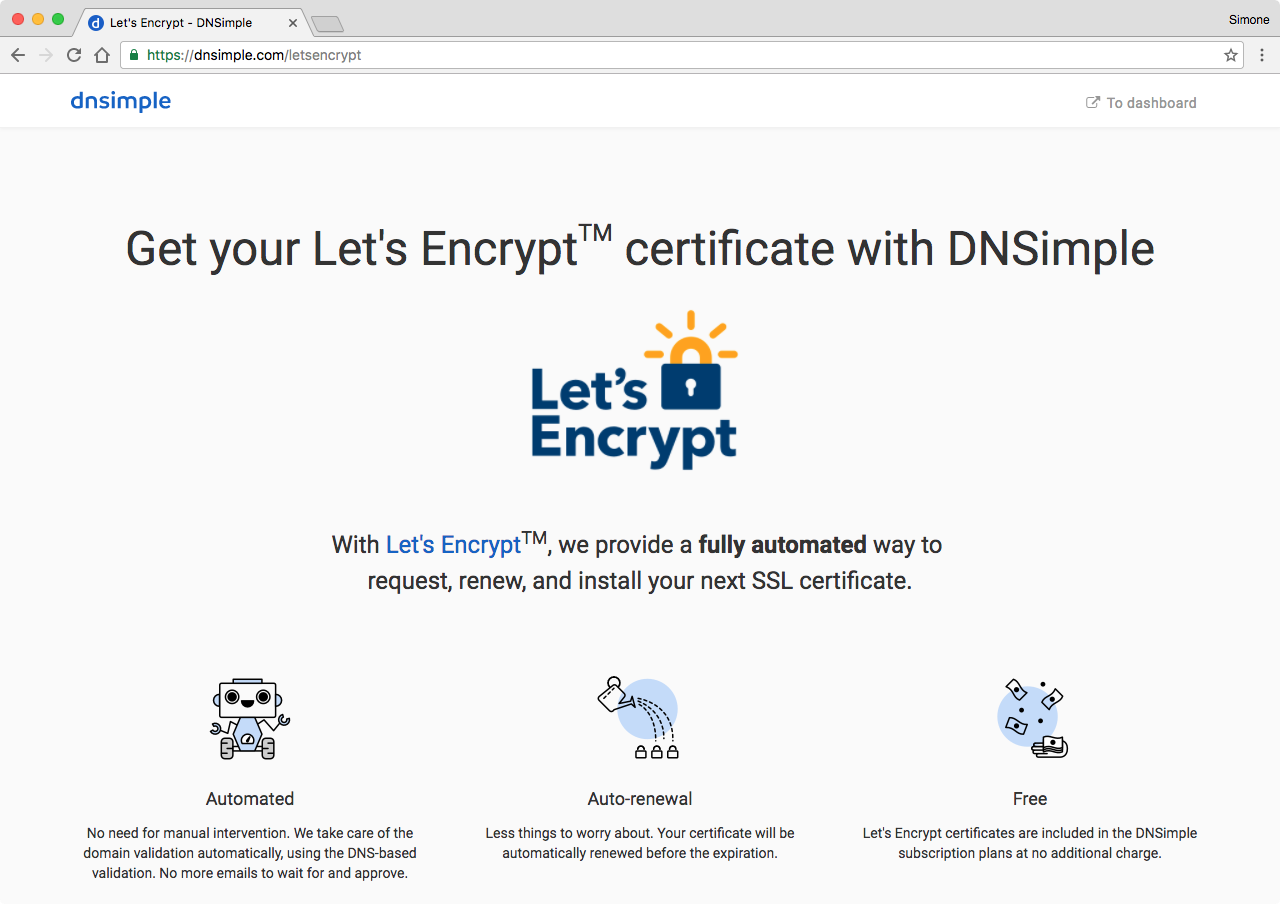 DNSimple and Let's Encrypt