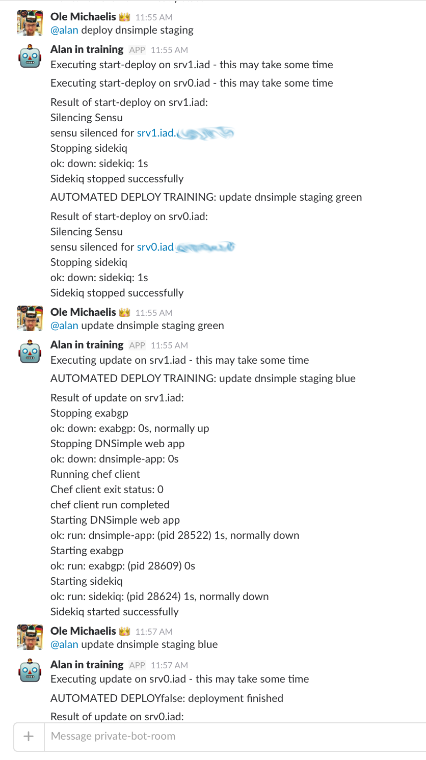 Screenshot showing the old manual deploy in Slack