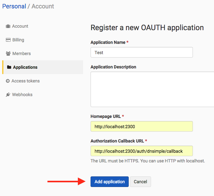 Screenshot showing the form for a new DNSimple OAuth app